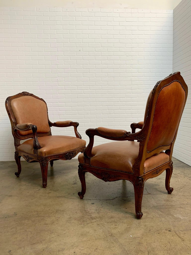 Oversized French Louis XV Style Armchairs with Leather Upholstery 11