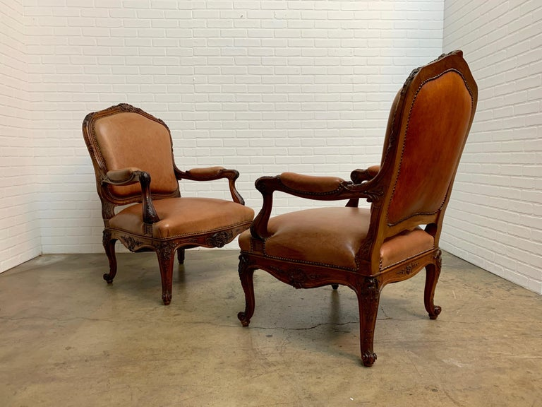 Oversized French Louis XV Style Armchairs with Leather Upholstery 12