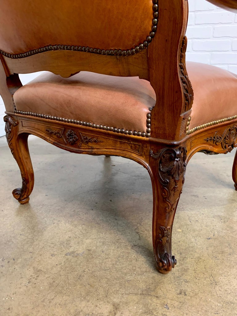 Oversized French Louis XV Style Armchairs with Leather Upholstery 16