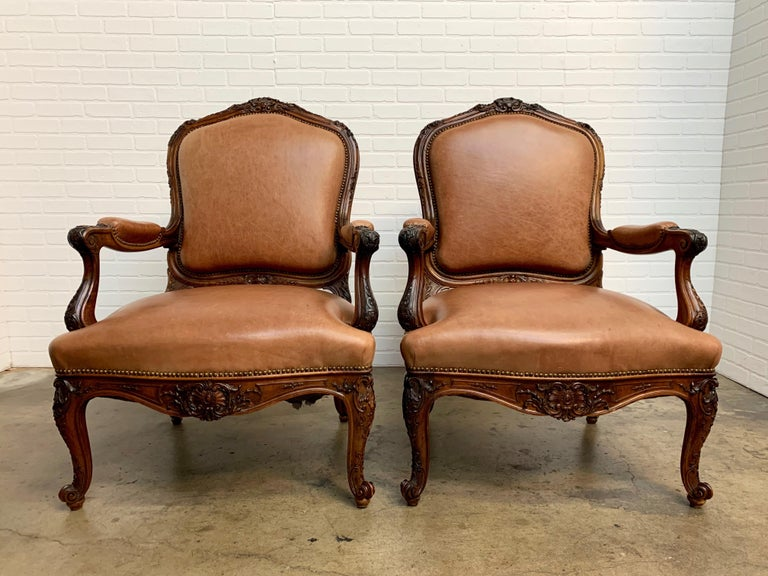Oversized French Louis XV Style Armchairs with Leather Upholstery In Good Condition In Laguna Hills, CA