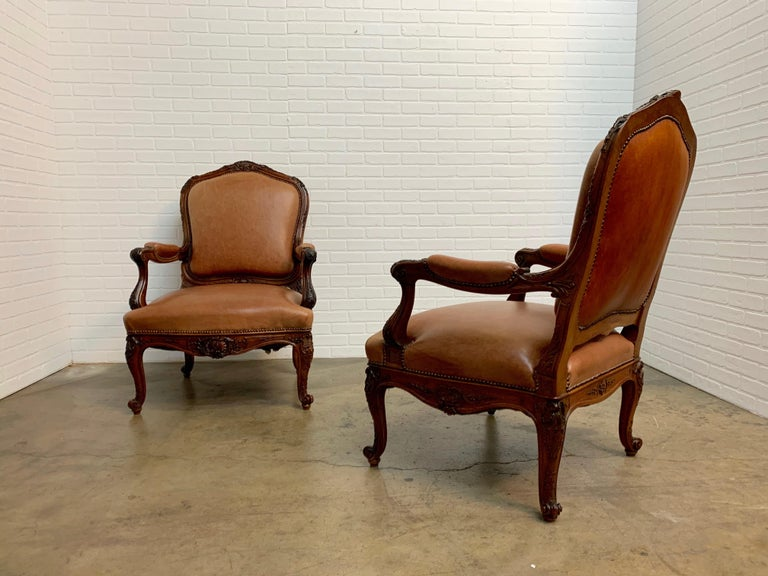 19th Century Oversized French Louis XV Style Armchairs with Leather Upholstery