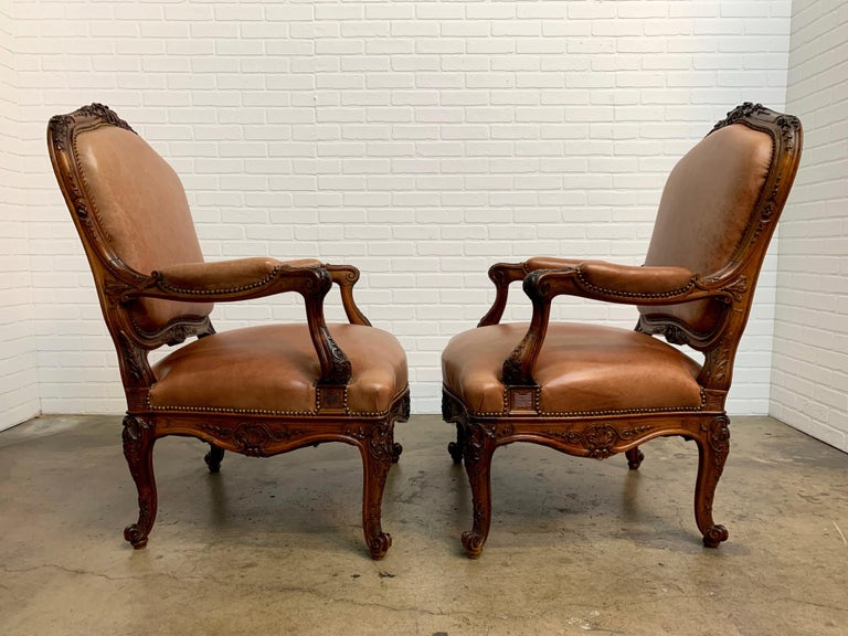 Oversized French Louis XV Style Armchairs with Leather Upholstery 3