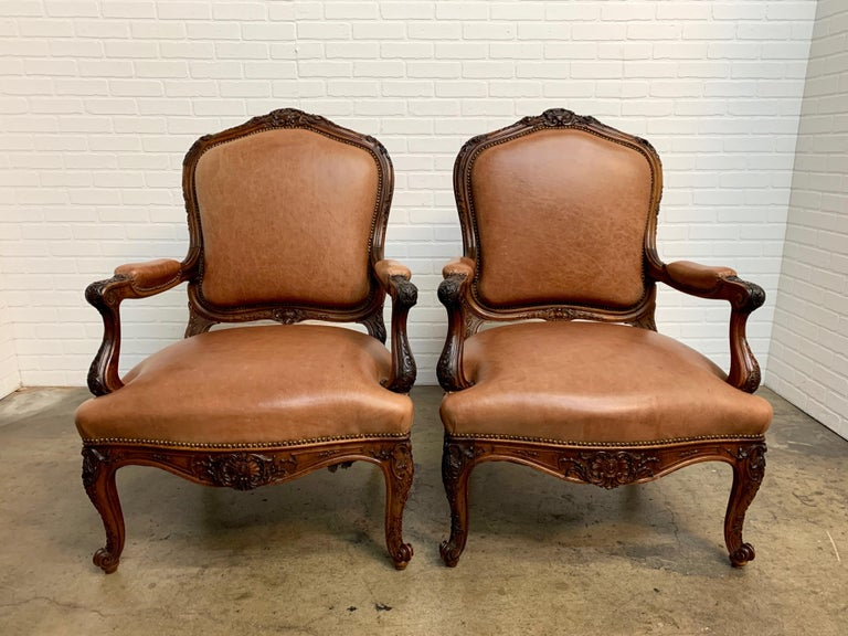 Oversized French Louis XV Style Armchairs with Leather Upholstery 5