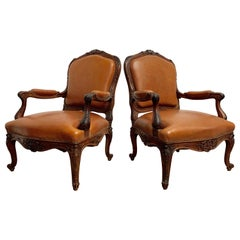 Oversized French Louis XV Style Armchairs with Leather Upholstery