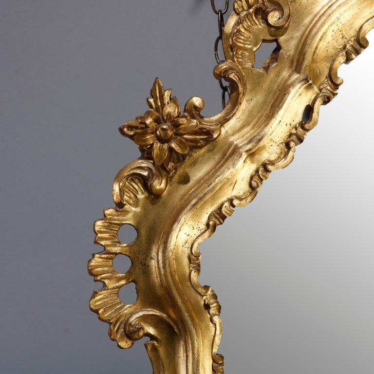 Oversized French Rococo Style Giltwood over Mantel Mirror, 20th Century In Good Condition For Sale In Big Flats, NY