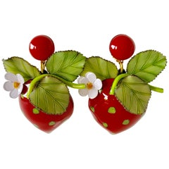 Oversized French Strawberry Statement Earrings