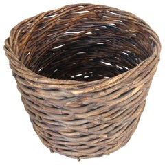 Oversized French Vintage Harvest Wicker Basket