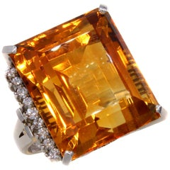 Oversized Gem Golden 37.50 Carat Citrine Diamond Platinum Ring