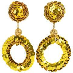 Oversized Gold Sequin Disco Donut Dangling Chandelier Clip on Earrings
