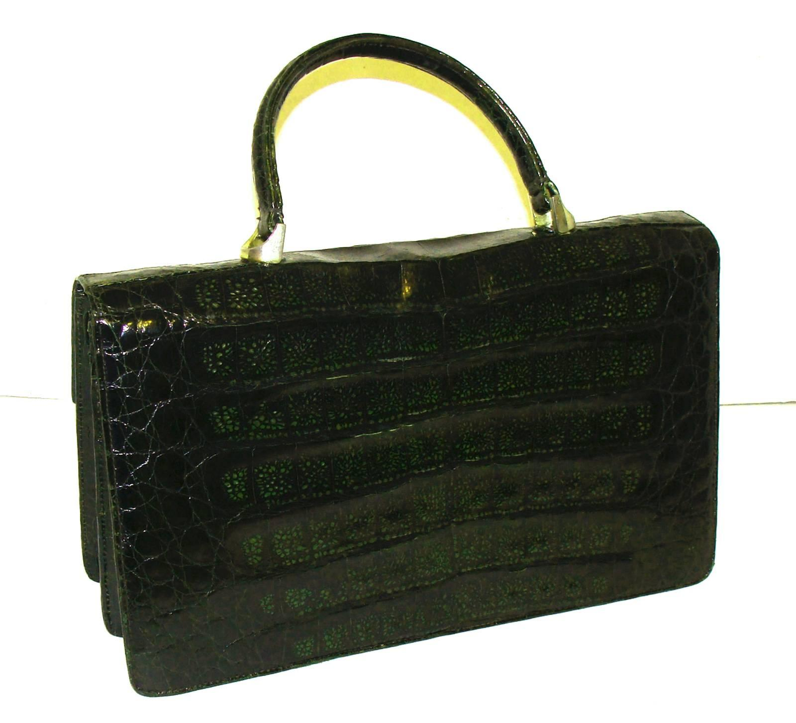 1stdibs Oversized Green Alligator Bag A72GR3S