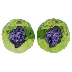 Oversized Green and Purple Rock Lucite Clip Earrings