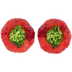 Oversized Green Red Rock Lucite Clip Earrings