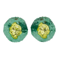 Oversized Green Yellow Rock Lucite Clip Earrings