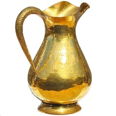 Oversized Hammered Brass Vase or Umbrella Stand in Shape of Jug, Italy, 1950s