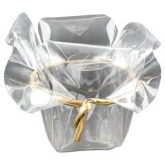 Oversized Handkerchief Lucite Planter Vase with Gilt Bow