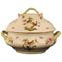 Oversized Herend Rothschild Bird Soup Tureen with Raised Flower Decoration