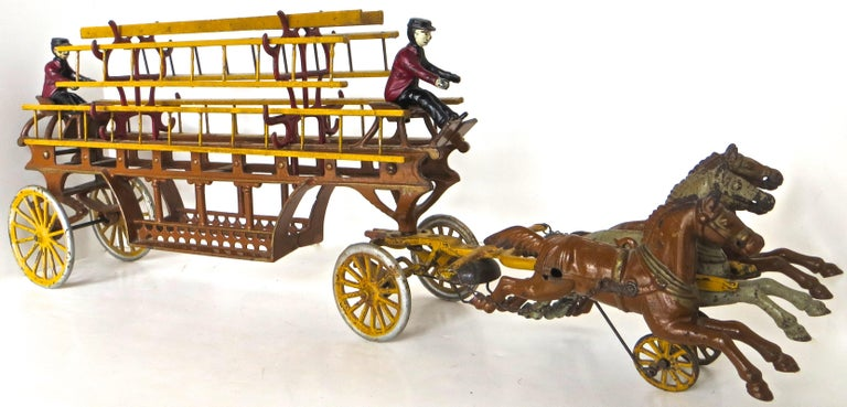 An opportunity to purchase a special, spectacular, one of a kind condition, three horse drawn fire engine ladder truck, with horses in full gallop, in realistic articulated motion when pulled or pushed along the floor; manufactured by The Dent