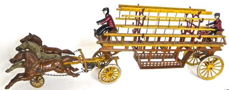 Folk Art Oversized Hook and Ladder Fire Truck by Dent Company, Pennsylvania, circa 1908 For Sale
