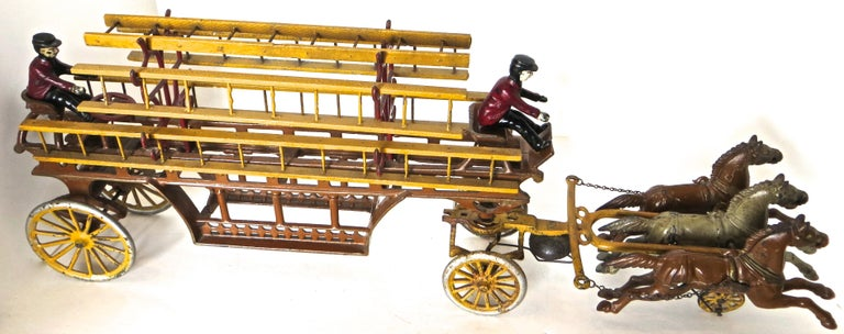 American Oversized Hook and Ladder Fire Truck by Dent Company, Pennsylvania, circa 1908 For Sale