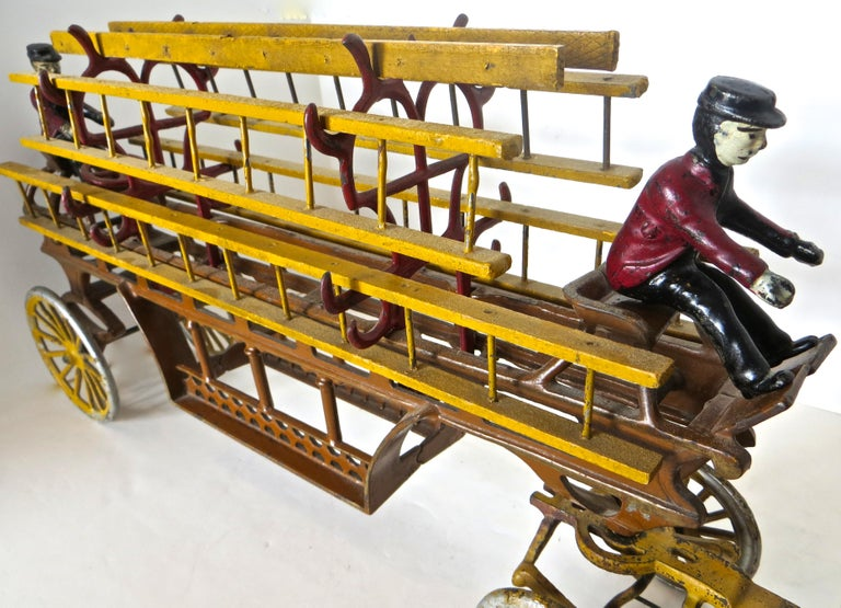 Cast Oversized Hook and Ladder Fire Truck by Dent Company, Pennsylvania, circa 1908 For Sale
