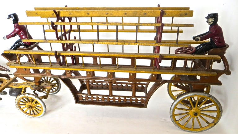 Early 20th Century Oversized Hook and Ladder Fire Truck by Dent Company, Pennsylvania, circa 1908 For Sale