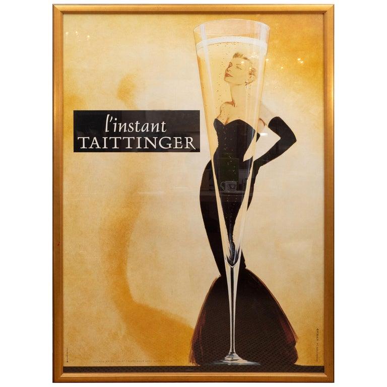 """Framed Oversized """"I' instant Taittinger"""" Champagne Poster For Sale"""