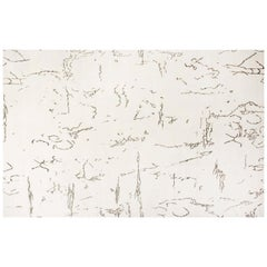 Oversized Indefinite Contemporary White and Black Hand Knotted Wool and Silk Rug