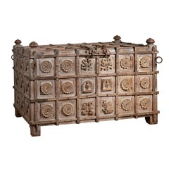 Oversized Indonesian Treasure Chest with Raised X Patterns, Rosettes and Animals