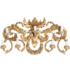 Oversized Italian Baroque Style Seven-Arm Gilt and Silvered Wood Wall Sconce