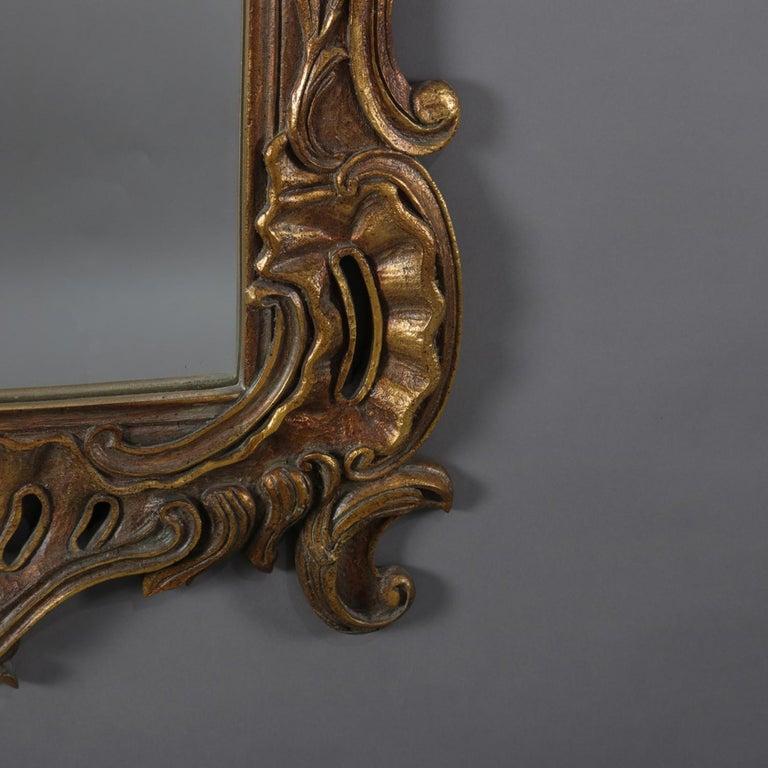 Oversized Italian Rococo Giltwood Foliate Form Overmantel Mirror, 20th Century For Sale 1