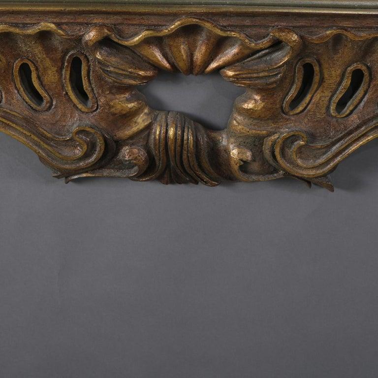 Oversized Italian Rococo Giltwood Foliate Form Overmantel Mirror, 20th Century For Sale 2