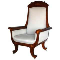 Oversized Karl Johan Armchair, Mahogany with Fruitwood Inlay, circa 1850