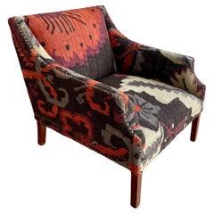 Oversized Kilim Tapestry Upholstered Armchair