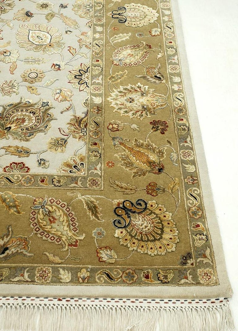 Indian Oversized Kohinoor Rug Wool and Pure Silk Pile Greys and Greens For Sale