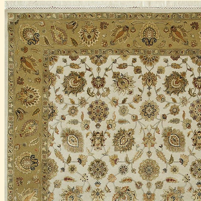 Hand-Knotted Oversized Kohinoor Rug Wool and Pure Silk Pile Greys and Greens For Sale