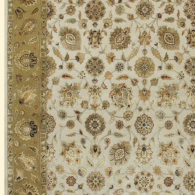 Contemporary Oversized Kohinoor Rug Wool and Pure Silk Pile Greys and Greens For Sale