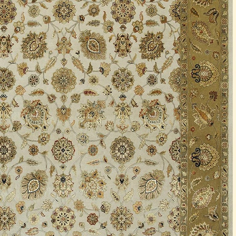 Oversized Kohinoor Rug Wool and Pure Silk Pile Greys and Greens For Sale 1