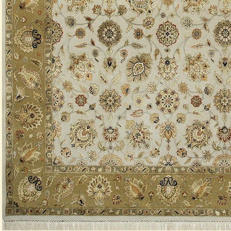 Oversized Kohinoor Rug Wool and Pure Silk Pile Greys and Greens For Sale 2