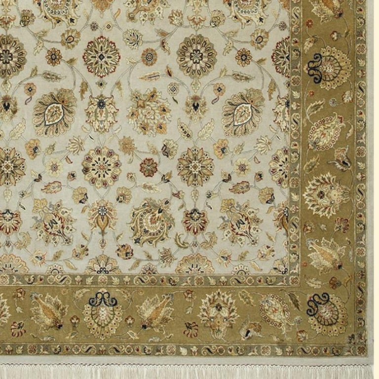 Oversized Kohinoor Rug Wool and Pure Silk Pile Greys and Greens For Sale 3