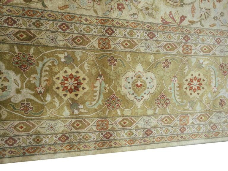 Indian Oversized Kohinoor Rug Wool Pile Greys and Greens For Sale
