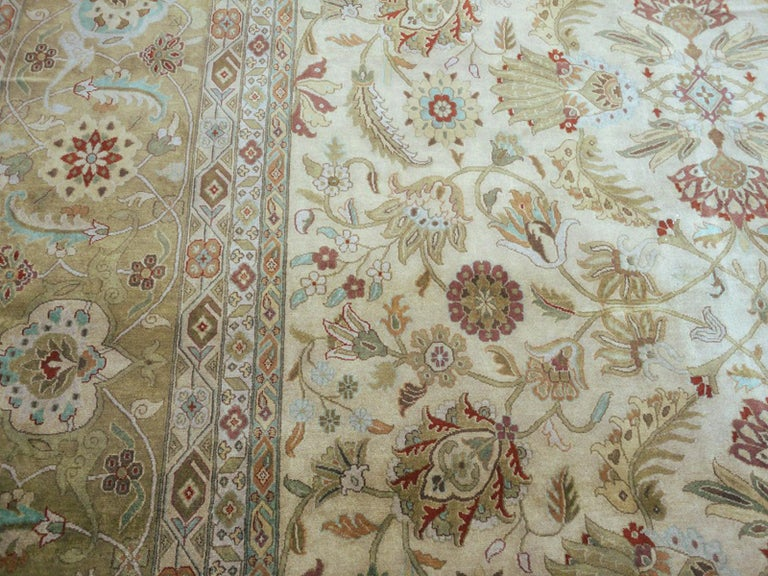 Hand-Knotted Oversized Kohinoor Rug Wool Pile Greys and Greens For Sale