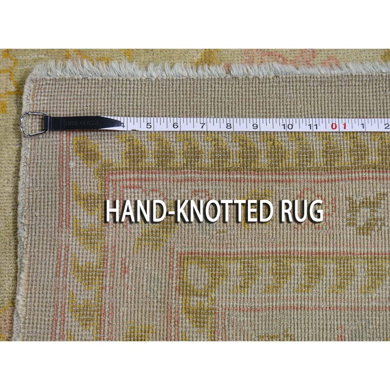 Oversized Light Green Vintage Turkish Oushak Pure Wool Hand Knotted Oriental Rug For Sale 5