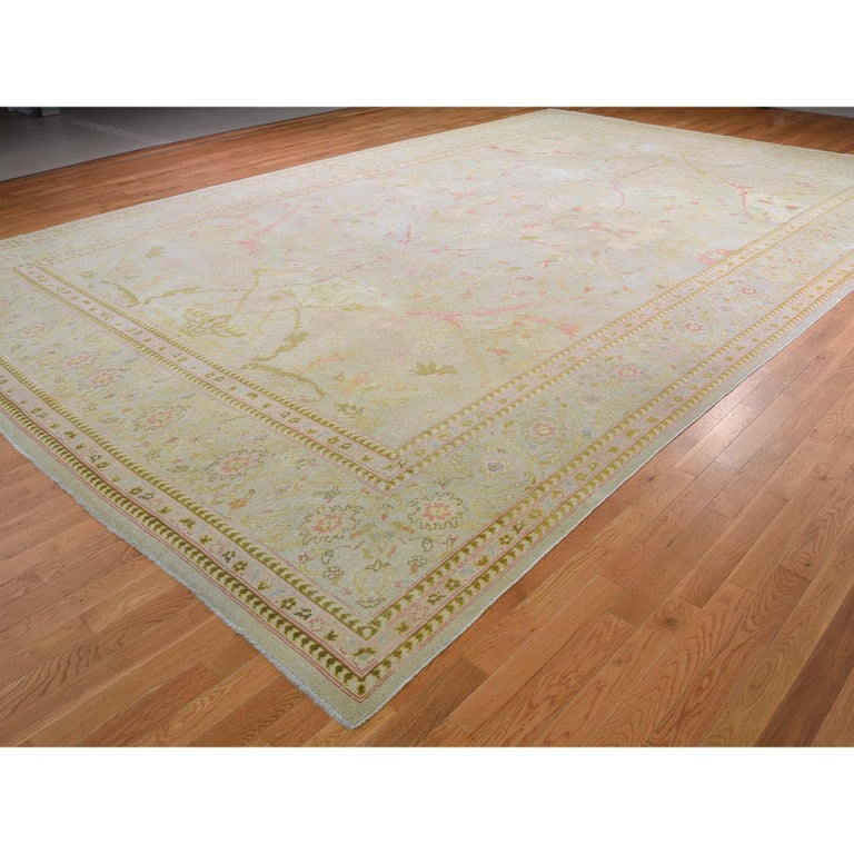 Persian Oversized Light Green Vintage Turkish Oushak Pure Wool Hand Knotted Oriental Rug For Sale