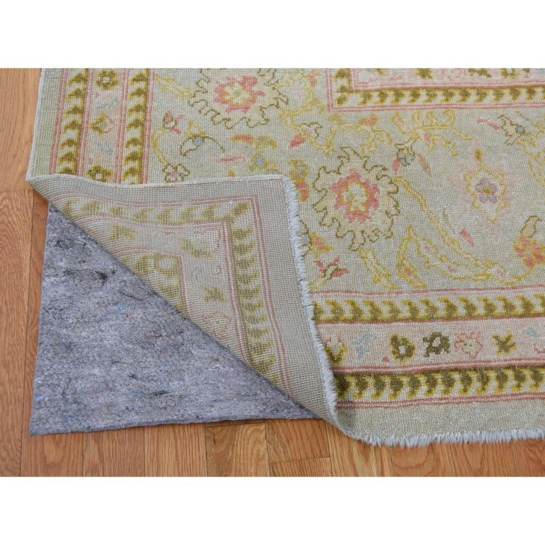 Hand-Knotted Oversized Light Green Vintage Turkish Oushak Pure Wool Hand Knotted Oriental Rug For Sale