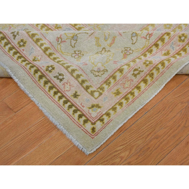 20th Century Oversized Light Green Vintage Turkish Oushak Pure Wool Hand Knotted Oriental Rug For Sale