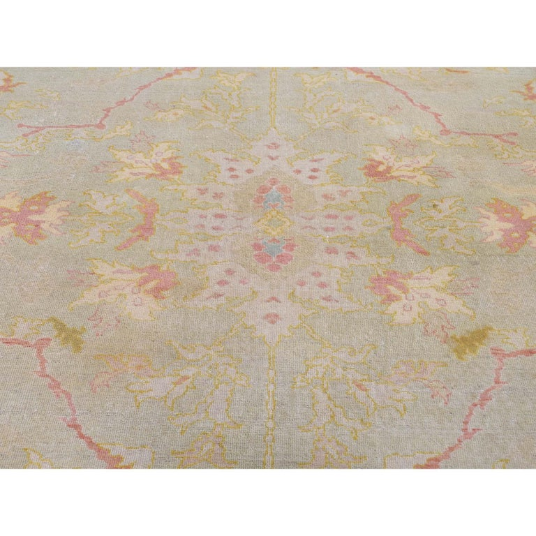 Oversized Light Green Vintage Turkish Oushak Pure Wool Hand Knotted Oriental Rug For Sale 2