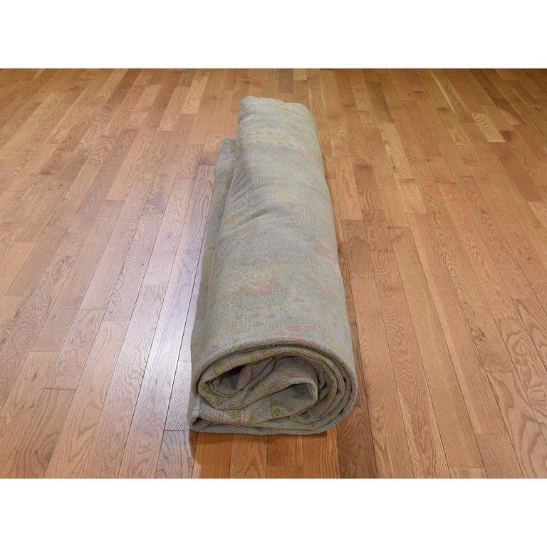 Oversized Light Green Vintage Turkish Oushak Pure Wool Hand Knotted Oriental Rug For Sale 3