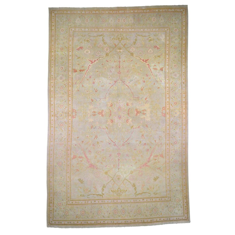 Oversized Light Green Vintage Turkish Oushak Pure Wool Hand Knotted Oriental Rug For Sale