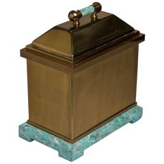 Oversized Lorin Marsh Brass and Simulated Green Stone Box