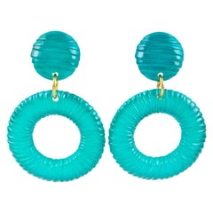 Oversized Lucite Clip on Earrings Aqua Blue Donut Hoop with Texture